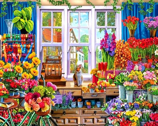 Алмазная мозаика 40x50 Кот в цветочном магазине