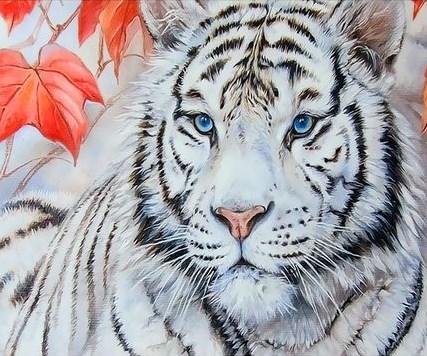 Картина по номерам 30x40 Белый тигр и осень